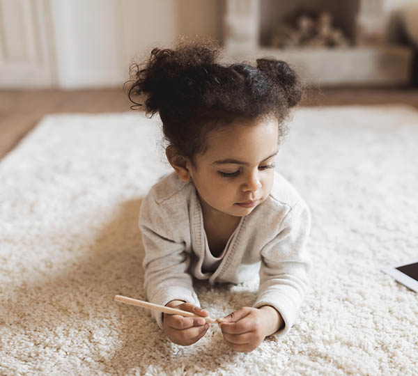 Little Girls on Clean Carpet