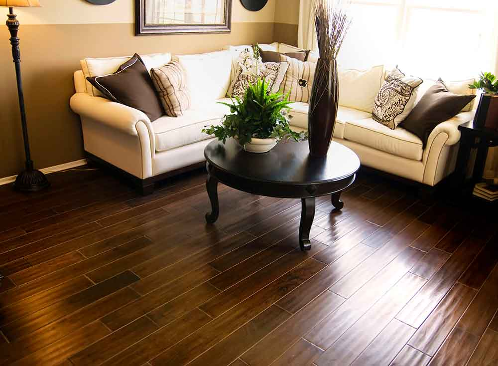 Beautiful Wood Tile Floors in a living room